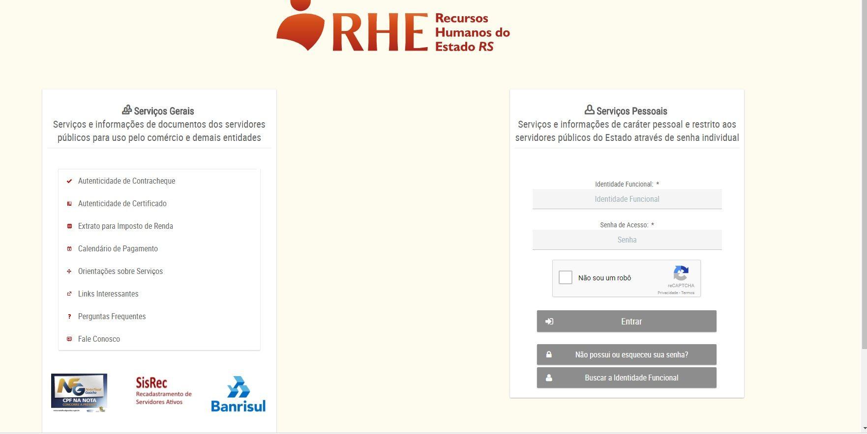Consulta Portal do Servidor RS